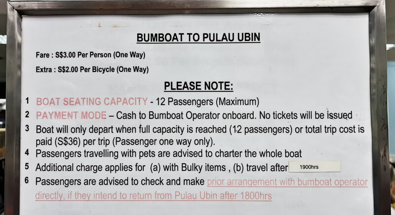 Pulau Ubin Ferry timing and price