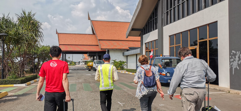Arriving at Siem Reap Airport - Walking from aircraft to terminal building
