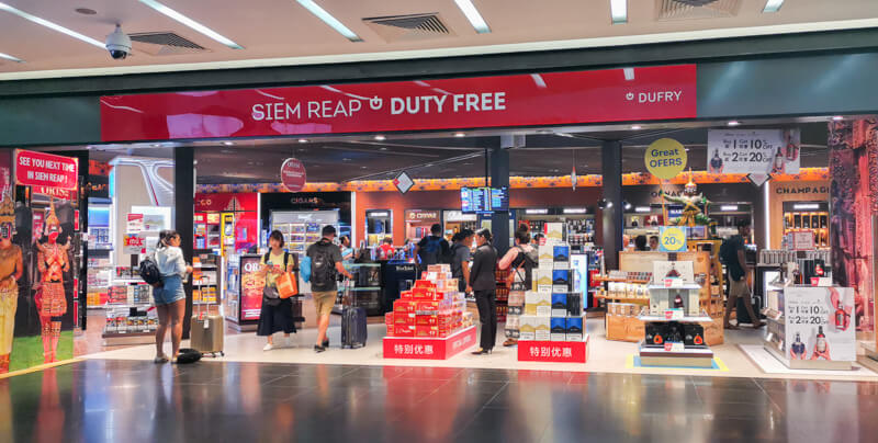 Flying out of Siem Reap Airport - Duty Free shop