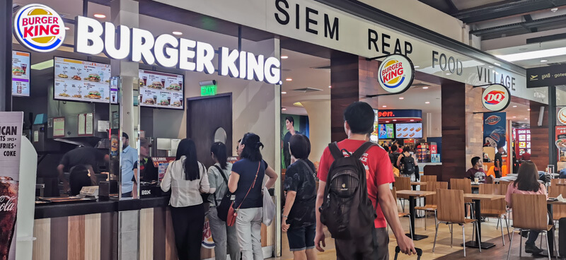 Siem Reap Airport Food - Siem Reap Food Village - Burger King, Yoshinoya, Dairy Queen at airside, after immigration