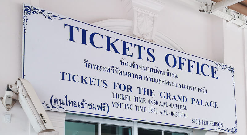 Bangkok Grand Palace entrance fee and opening hour