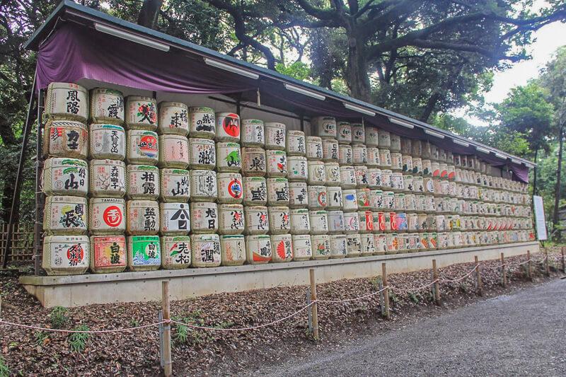 Barrels of sake along the road leading to north entrance at Meiji Shrine