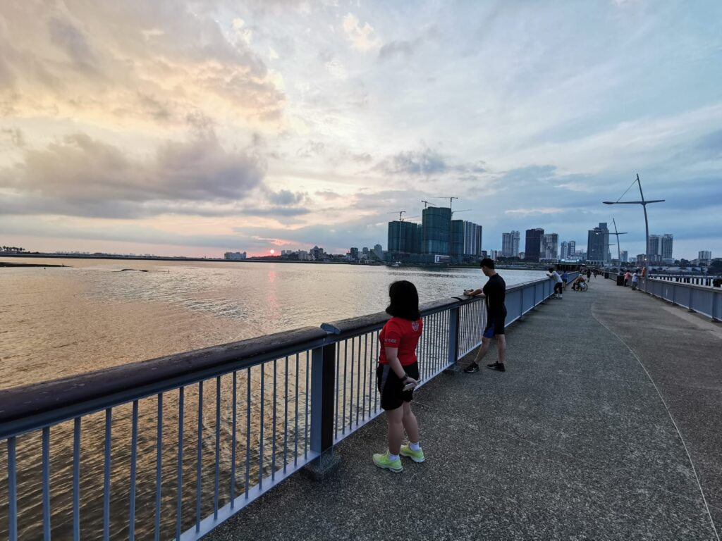 Running at Woodlands Waterfront Park, Singapore