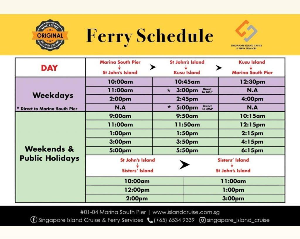 Island Cruise - Ferry Schedule Nov 2020