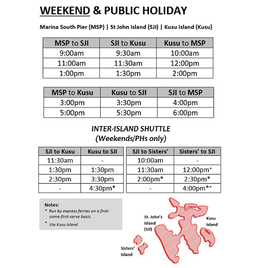Marina South Ferries - Weekend Ferry Schedule Nov 2020