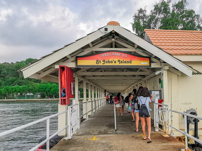 St John Island Singapore - pier welcome gate
