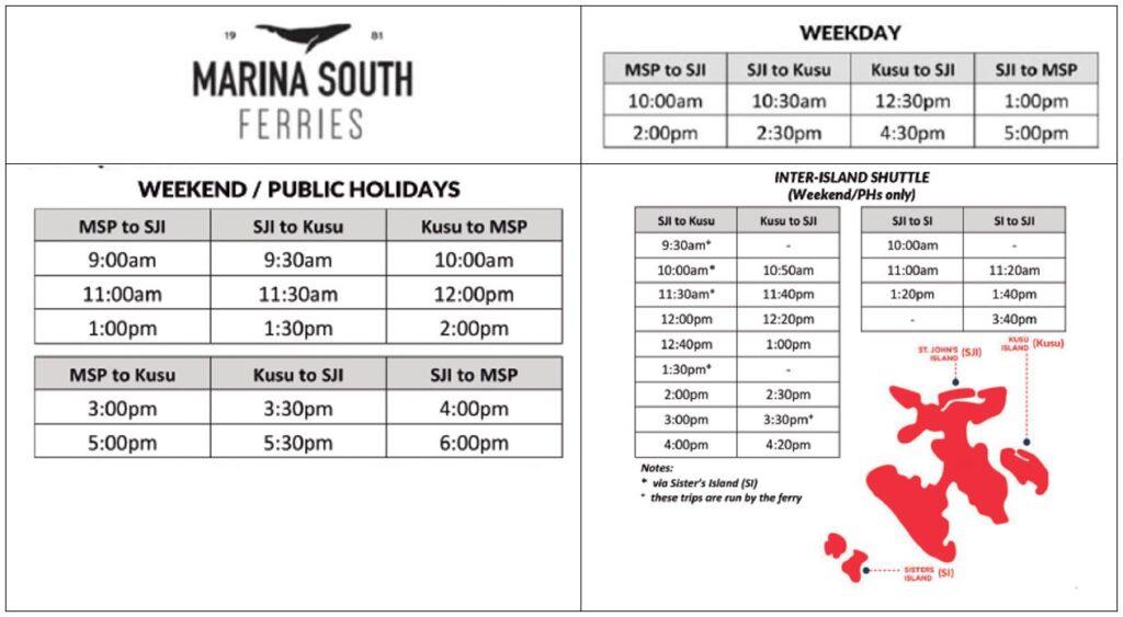 marina south ferries schedule
