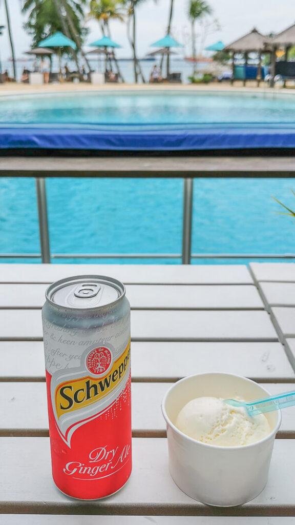 AJ Hackett Skybridge Sentosa Singapore - drink and ice cream