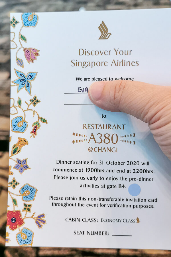 Invitation Card of Restaurant A380 Changi - Economy Class