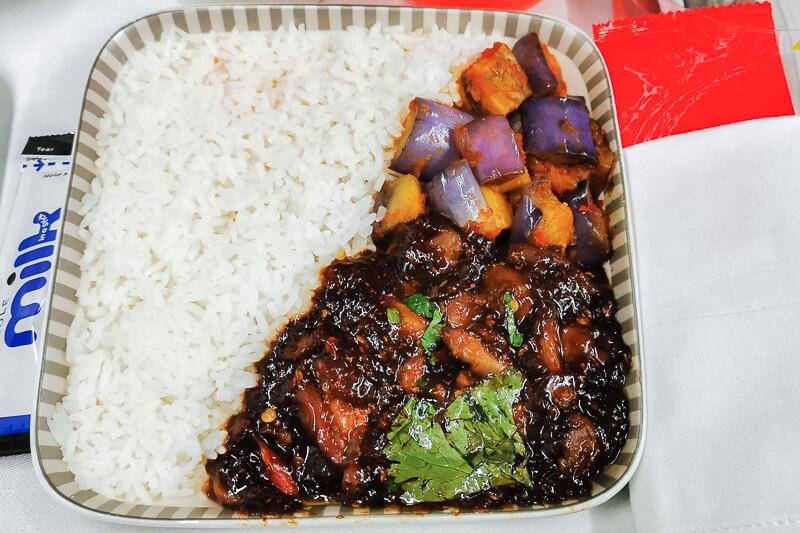 Economy class meal - Ayam Tempra and Brinjal Sambal at Singapore Airline Restaurant A380 Changi