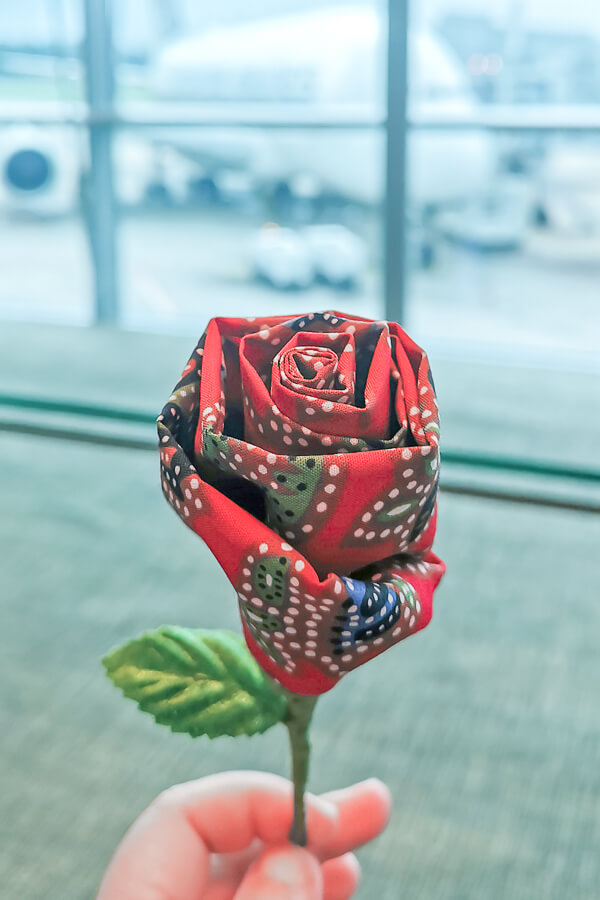 Batik Rose from Singapore Airline Restaurant A380 Changi - Economy Class