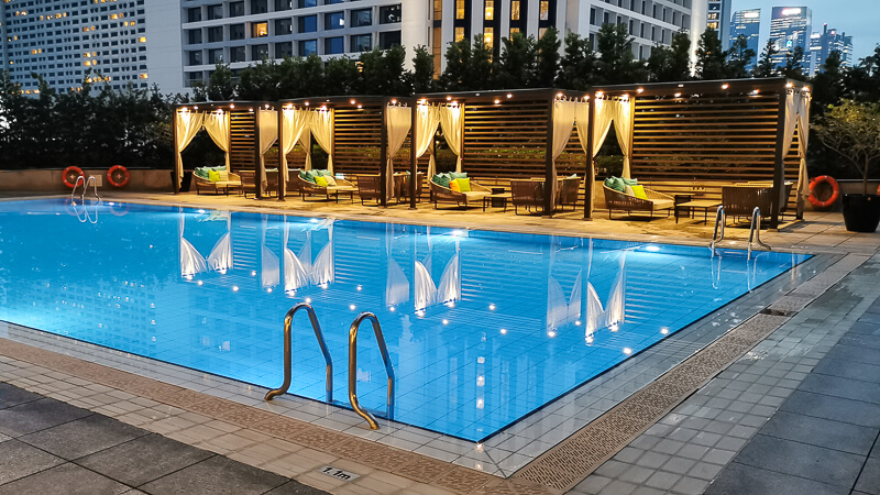 Conrad Centennial Singapore Review - Evening Pool