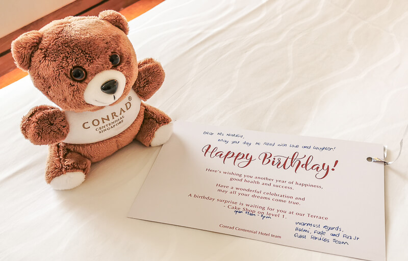 Conrad Centennial Singapore Review - Bear and Birthday Card