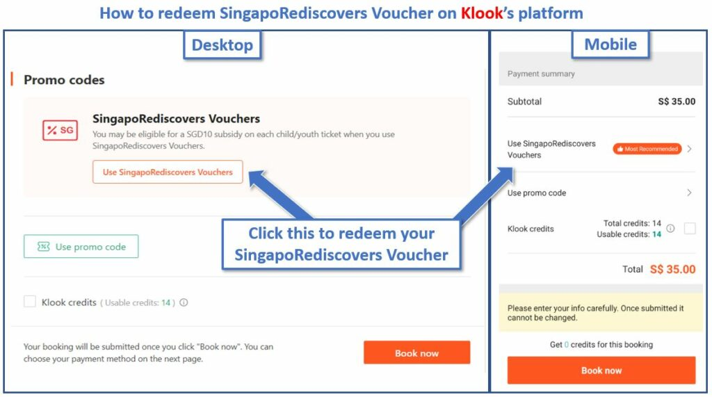 How to redeem SingapoRediscovers Voucher on Klook