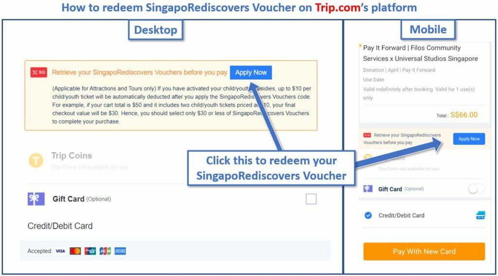 How to redeem SingapoRediscovers Voucher on Trip com