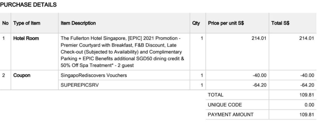 Fullerton Hotel Singapore Staycation Review - Booking Receipt