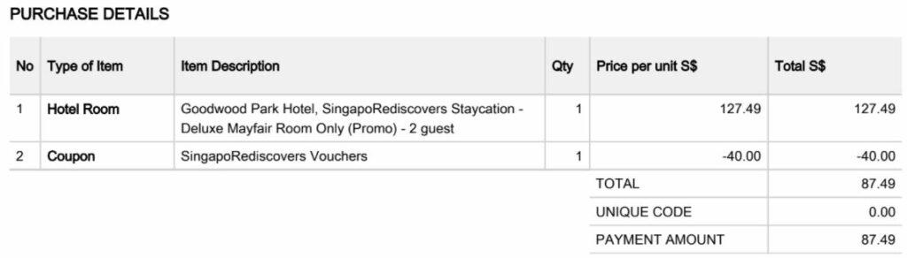 Goodwood booking receipt