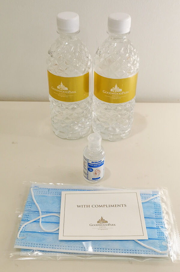 Goodwood Park Hotel Singapore Staycation Review - free mineral water, hand sanitizer and mask