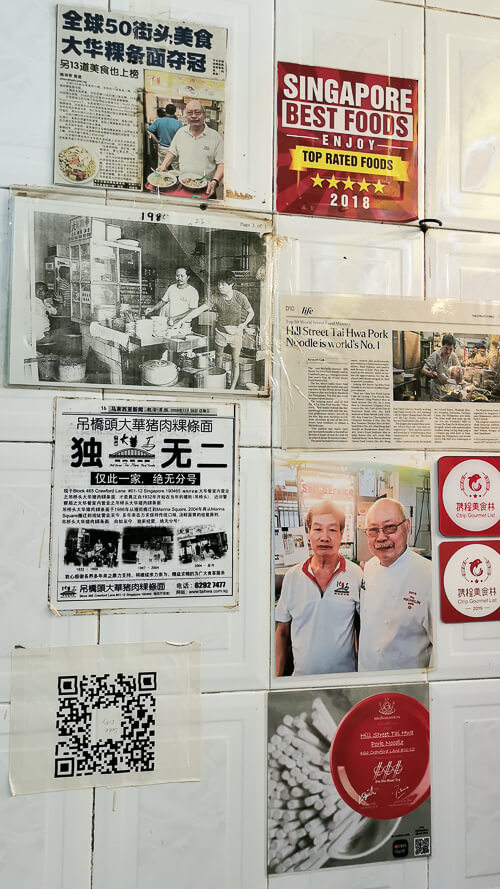 Hill Street Tai Hwa Pork Noodle - Awards and Newspaper Articles