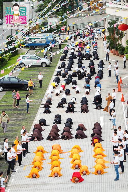 Kong Meng San Phor Kark See Singapore - 3 steps 1 bow procession on Vesak day